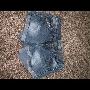 Light wash jeans shorts